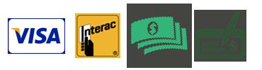Payment methods - Visa, Interac, Cash & Cheque